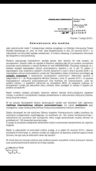 Kancelaria Adwokacja Arkadiusz Tetela/Oświadczenie